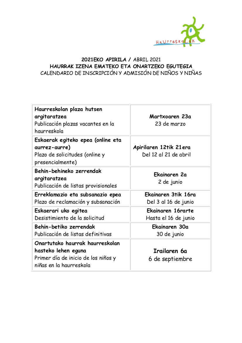 Haurreskola: Calendario de inscripcion