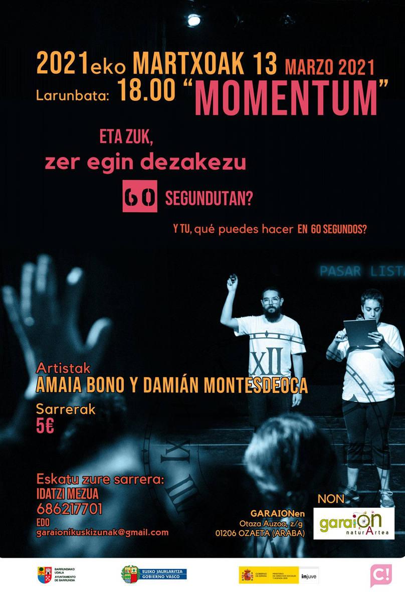 """""""MOMENTUM"""", 13 de marzo en Garaion"""