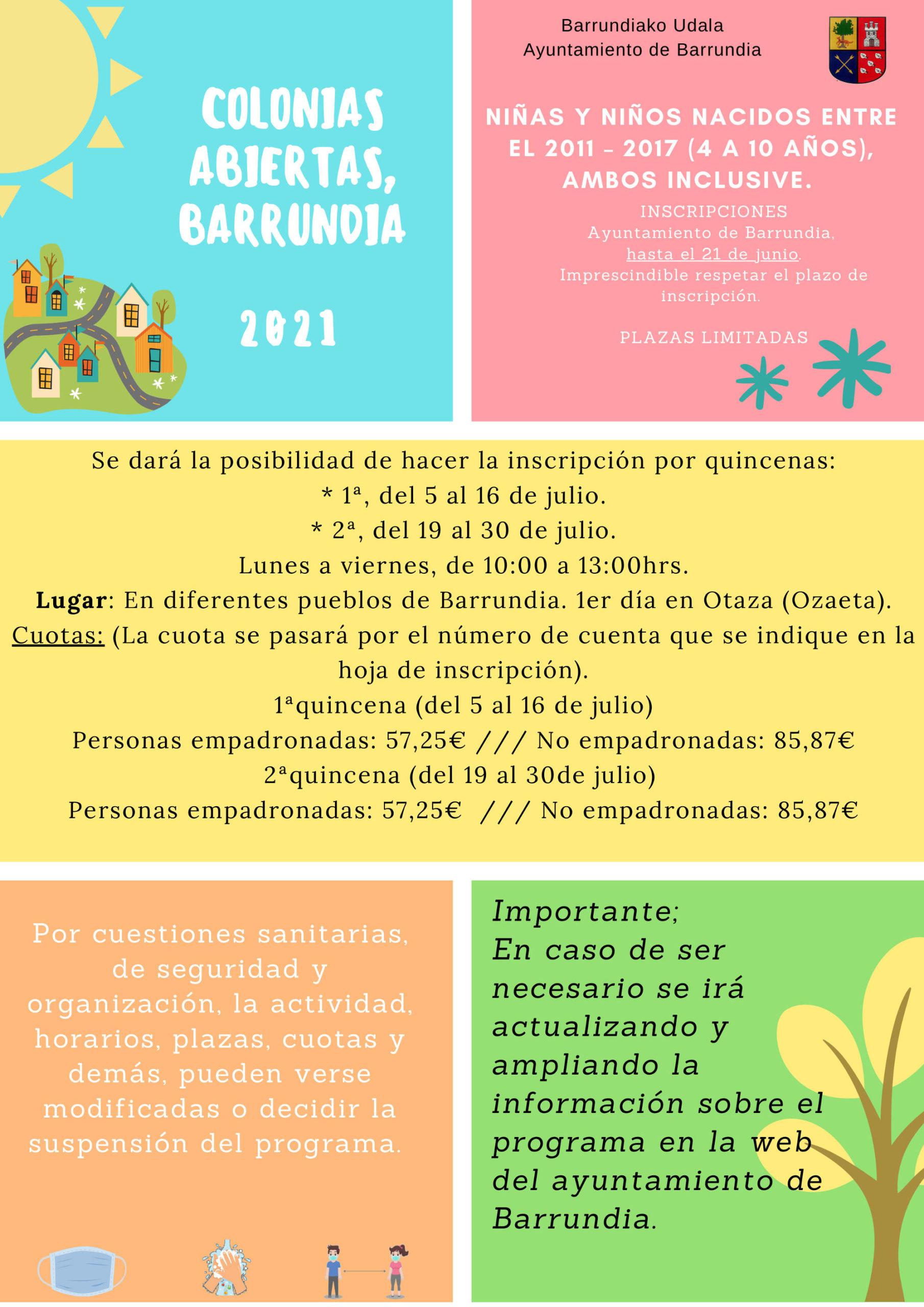 PROGRAMA COLONIAS DE VERANO, 2021