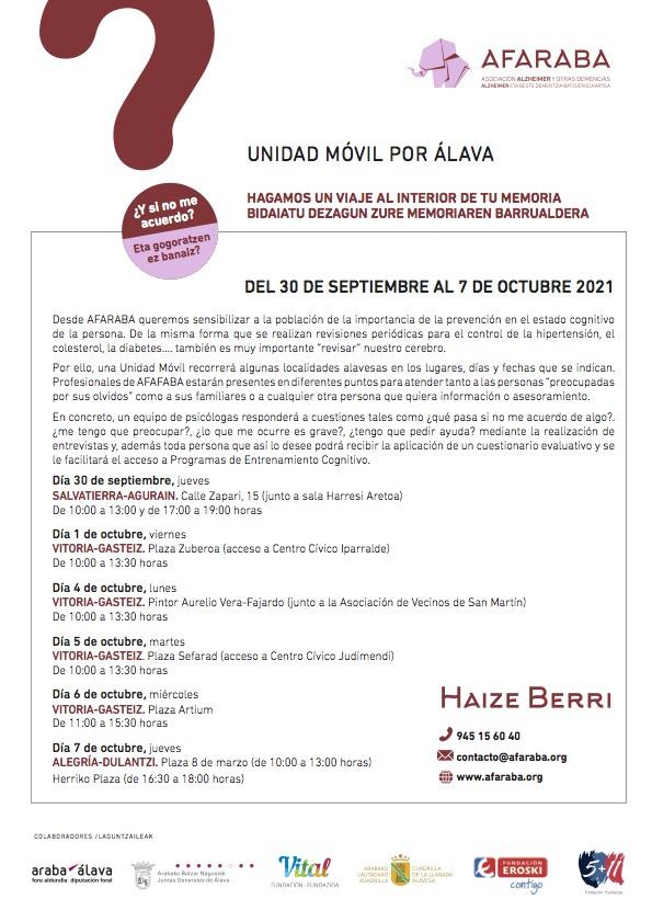 AFARABA: Unidad movil por Alava